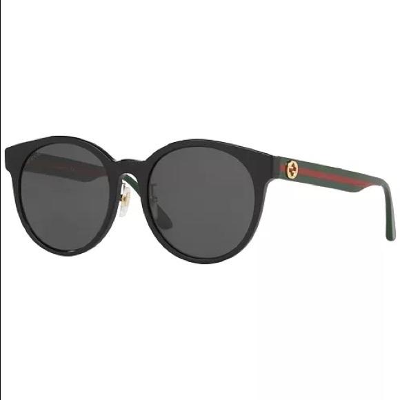 Gucci Pop Webbing Round Shiny Black Sunglasses